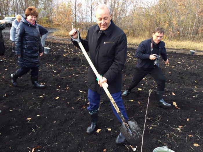 Валерий Радаев приехал сажать яблони в Ртищево. Фото, видео