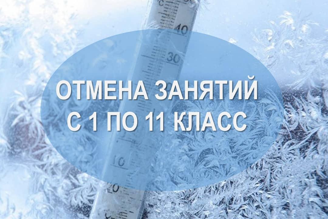 Из-за морозов завтра отменяются занятия с 1 по 11 класс